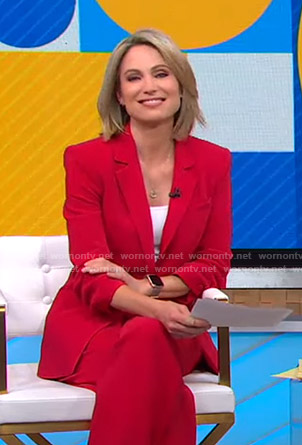 Amy's red ruched sleeve blazer on Good Morning America