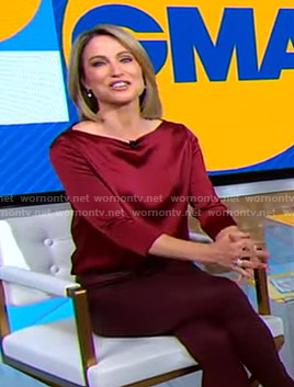 Amy's red satin top on Good Morning America
