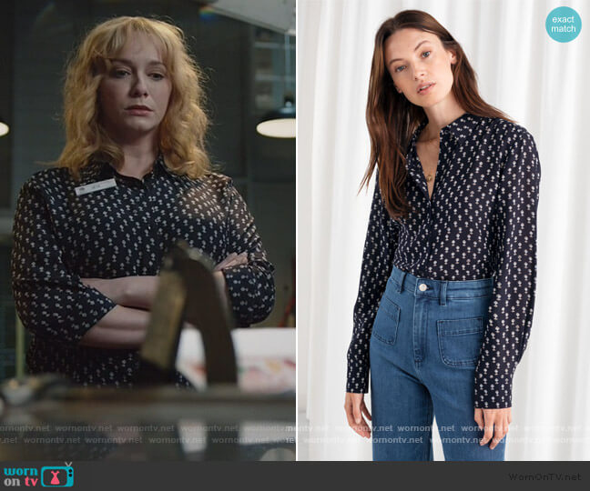 Floral Print Silk Shirt by & Other Stories worn by Beth Boland (Christina Hendricks) on Good Girls