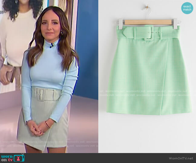 Belted Tailored Overlap Mini Skirt by & Other Stories worn by Lilliana Vazquez  on E! News