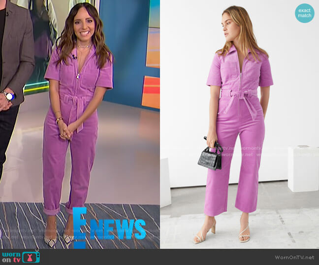 Corduroy Knot Belt Jumpsuit by & Other Stories worn by Lilliana Vazquez  on E! News