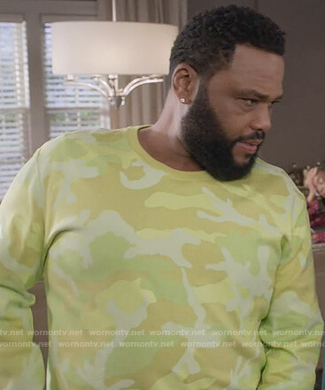 Andre's yellow camo sweatshirt on Black-ish
