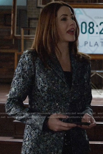 Andrea's dotted jacquard blazer on Supergirl