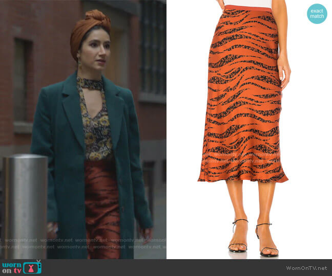 Bar Print Silk Midi Skirt by Anine Bing worn by http://freeform.go.com/shows/the-bold-type (Freeform) on Uncategorized
