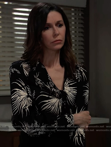 Anna's black and white floral blouse on General Hospital