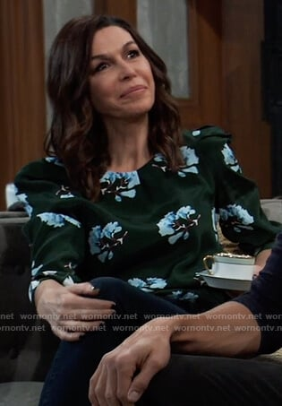 Anna's green floral puff sleeve top on General Hospital