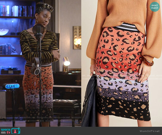 Leopard Sweater-Knit Pencil Skirt worn by Yana (Kiandra Richardson) on Empire