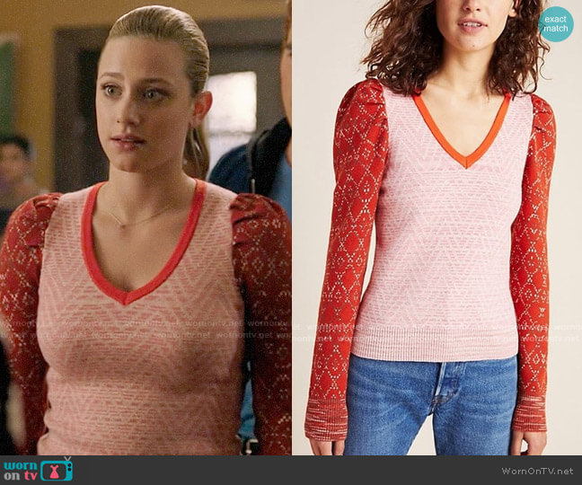 Anthropologie Cherie Puff-Sleeved Sweater worn by Betty Cooper (Lili Reinhart) on Riverdale