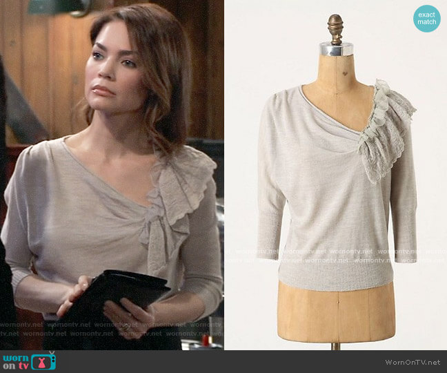Anthropologie Moth Oblique Pointelle Pullover worn by Elizabeth Webber (Rebecca Herbst) on General Hospital