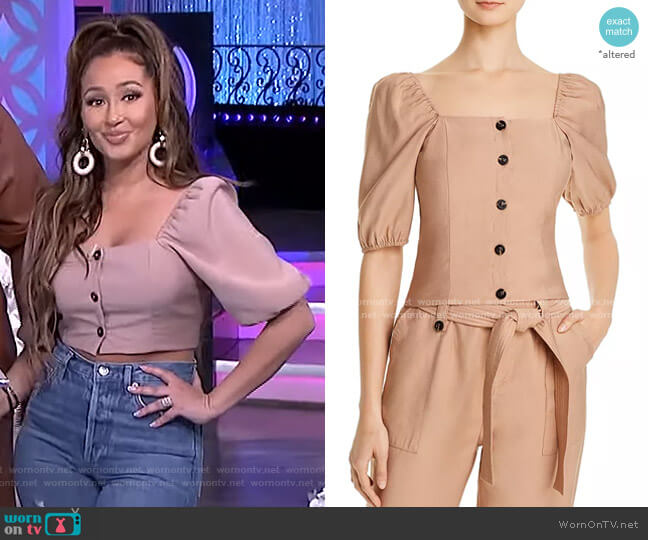 Button Detail Puff-Sleeve Top by Aqua worn by Adrienne Houghton  on The Real
