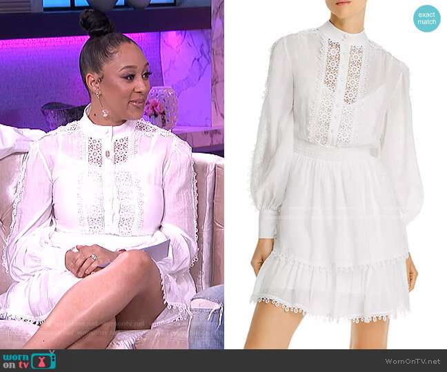 Crochet Trim Long-Sleeve Dress by Aqua worn by Tamera Mowry  on The Real