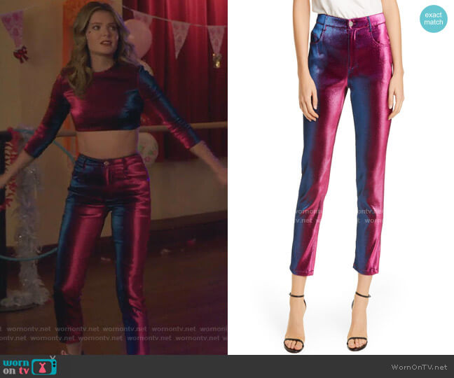 Stretch Lamé Straight Leg Pants by Area worn by Sutton (Meghann Fahy) on The Bold Type