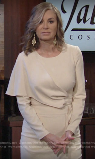 Ashley's cream draped overlay dress on The Young and the Restless