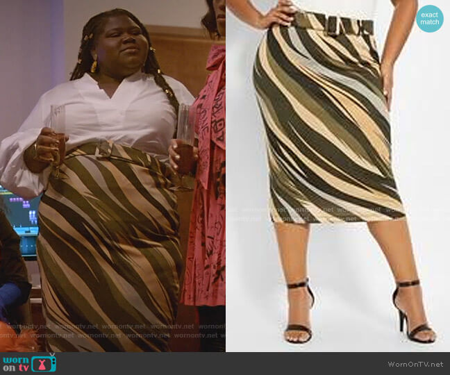 Diagonal Stripes Skirt by Ashley Stewart worn by Becky (Gabourey Sidibe) on Empire