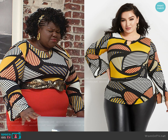 Striped Keyhole Top by Ashley Stewart worn by Becky (Gabourey Sidibe) on Empire