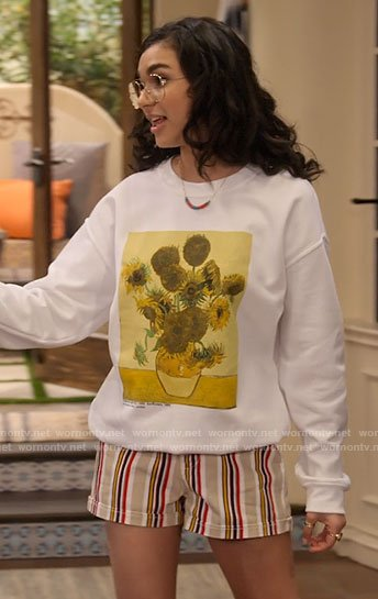 Ashley's Van Gogh sunflowers sweatshirt on The Expanding Universe of Ashley Garcia