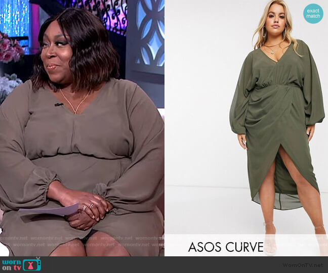 plunge front blouson sleeve midi dress by ASOS worn by Loni Love  on The Real