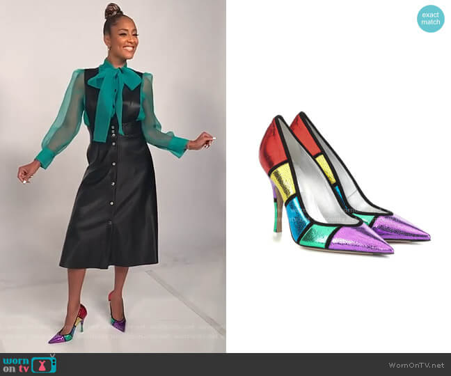 Kate metallic leather pumps by Attico worn by Amanda Seales  on The Real