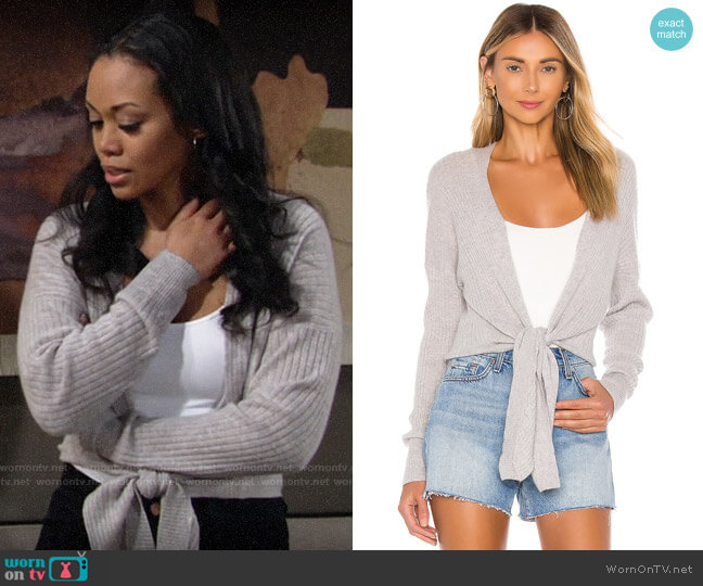 Autumn Cashmere Tie Front Rib Cardigan worn by Amanda Sinclair (Mishael Morgan) on The Young & the Restless