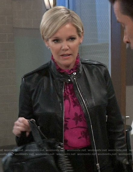 Ava's pink floral blouse on General Hospital