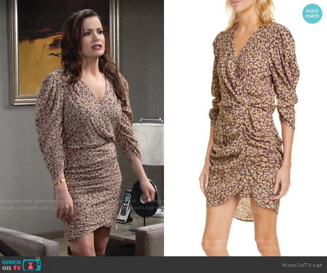ba&sh Crystal Print Faux Wrap Ruched Dress worn by Chelsea Lawson (Melissa Claire Egan) on The Young & the Restless