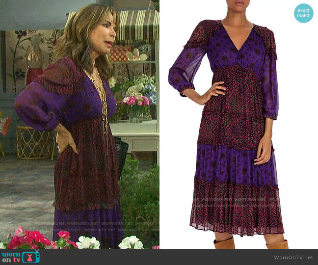 ba&sh Gypsie Mixed-Print Midi Dress worn by Kate Roberts (Lauren Koslow) on Days of our Lives