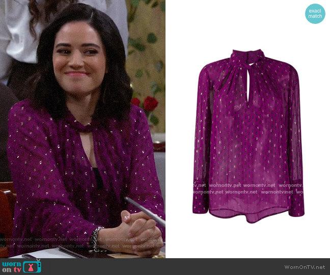 ba&sh paisley print long-sleeve blouse worn by Sofia (Edy Ganem) on The Neighborhood