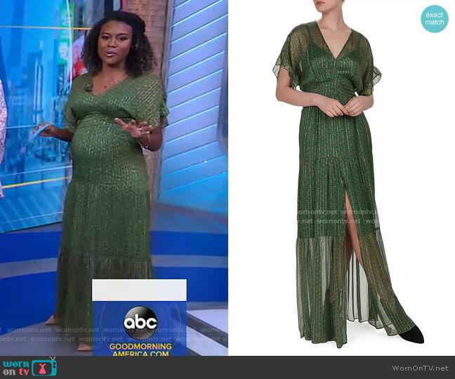 Wanda Metallic Herringbone Print Maxi Dress by Ba&Sh worn by Janai Norman  on Good Morning America