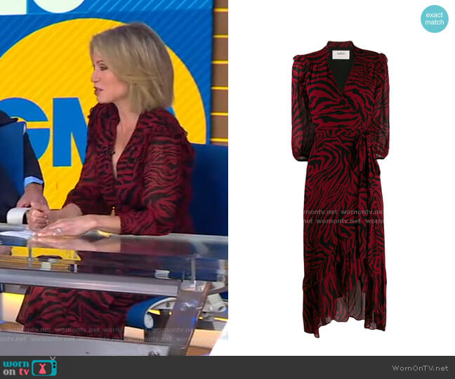 Selena Wrap Midi Dress by Ba&Sh worn by Amy Robach  on Good Morning America