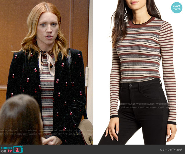Bailey 44 Courtney Metallic Stripe Sweater worn by Julia Bechley (Brittany Snow) on Almost Family