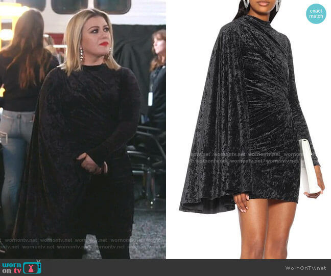 Crushed Velvet Minidress by Balenciaga worn by Kelly Clarkson  on The Voice