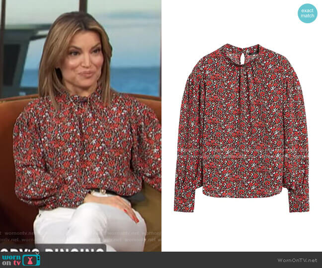 Print Bishop-Sleeve Top by Banana Republic worn by Kit Hoover  on Access Hollywood