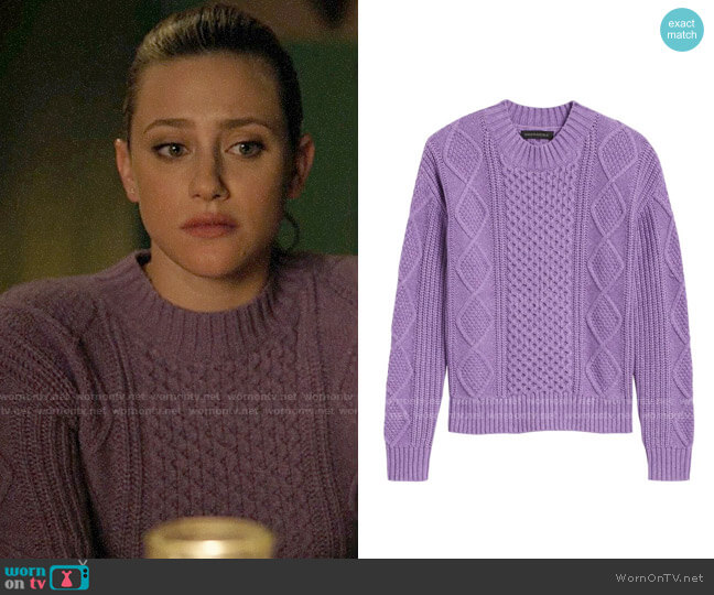 Banana Republic Cable-Knit Cropped Sweater worn by Betty Cooper (Lili Reinhart) on Riverdale