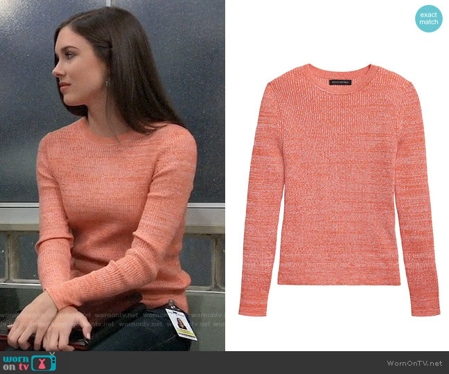 Banana Republic Stretch Cotton Crew-Neck Sweater worn by Willow Tait (Katelyn MacMullen) on General Hospital