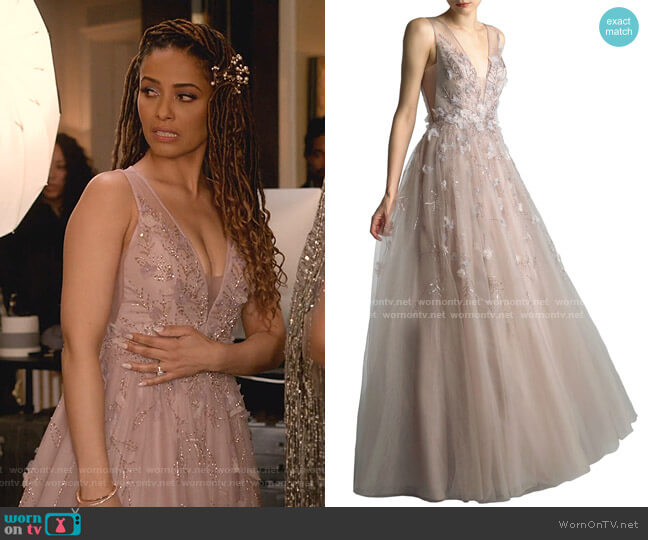 Beaded V-Neck Sleeveless A-Line Gown with 3D Floral Applique by Basix worn by Teri Brooks-Lyon (Meta Golding) on Empire