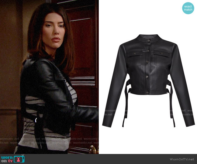 Bcbgmaxazria Cutout Faux Leather Moto Jacket worn by Steffy Forrester (Jacqueline MacInnes Wood) on The Bold & the Beautiful