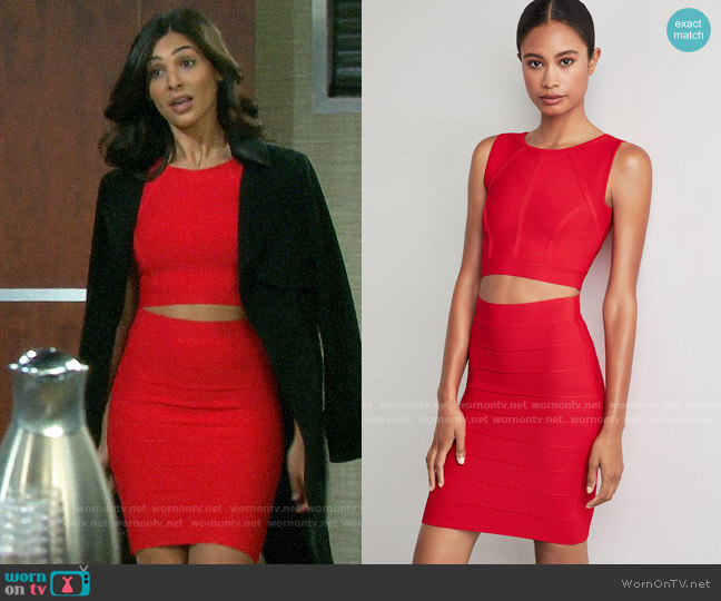 Bcbgmaxazria Fenella Top and Alexa Skirt worn by Gabi Hernandez (Camila Banus) on Days of our Lives