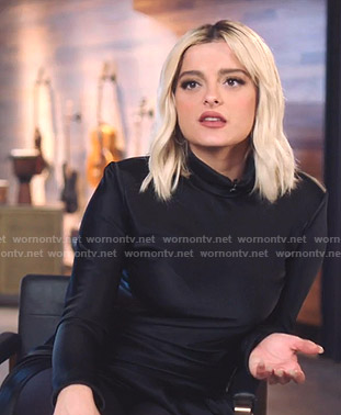 Bebe Rexha's black mock neck asymmetric dress on The Voice