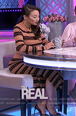 Jeannie's beige stripe sweater and skirt on The Real