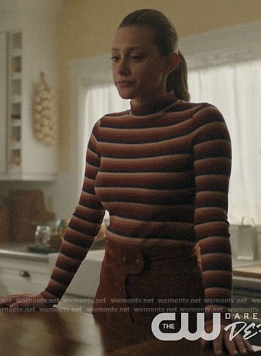 Betty's tan button front skirt and striped top on Riverdale