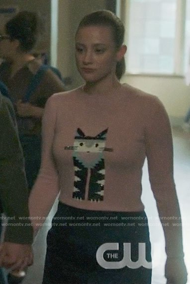Betty's sequin cat sweater on Riverdale