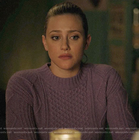 Betty's purple cable knit sweater on Riverdale