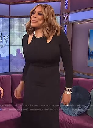 Wendy's black cutout midi dress on The Wendy Williams Show