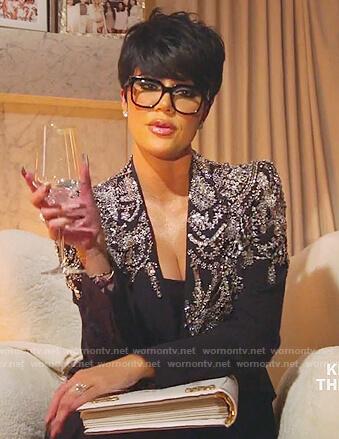 Khloe's black embellished blazer on Keeping Up with the Kardashians