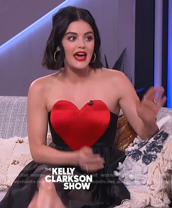 Lucy Hale's black heart detail strapless dress on The Kelly Clarkson Show