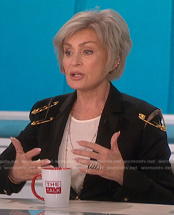 Sharon's black safety pin embellished blazer on The Talk