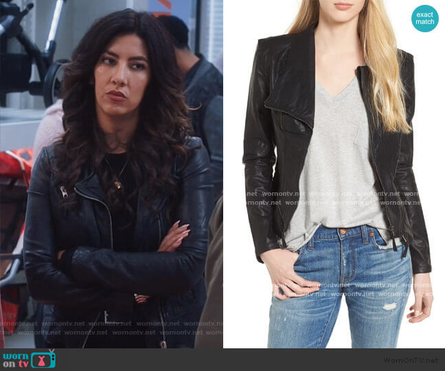 Blank NYC Faux Leather Jacket worn by Rosa Diaz (Stephanie Beatriz) on Brooklyn Nine-Nine