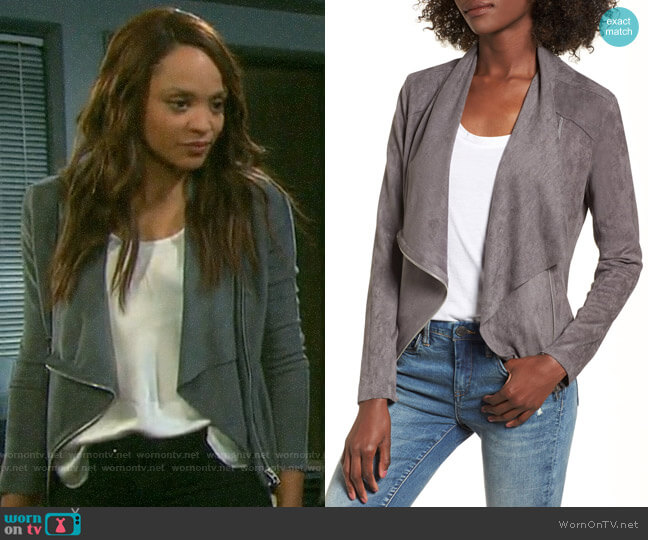 Blank NYC Faux Suede Drape Front Jacket worn by Lani Price (Sal Stowers) on Days of our Lives