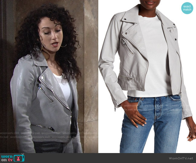 Blank NYC Faux Leather Moto Jacket worn by Alyssa on The Young and the Restless