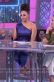 Tamera's blue one shoulder jumpsuit on The Real